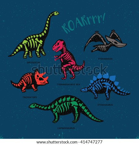 Funny sketchy fossil dinosaurs print with text Roar. Cartoon fossil dinosaurs card. Vector illustration - stock vector