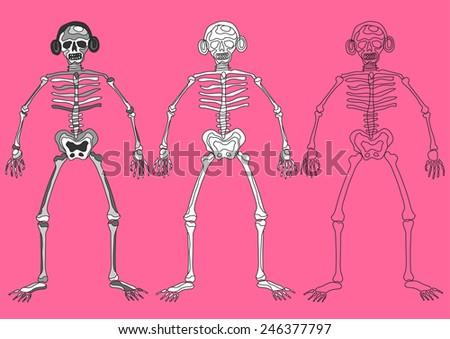 funny skull skeleton bone dj day of the dead - stock vector