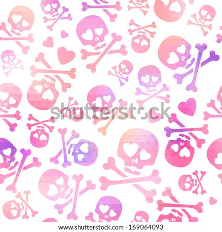 Funny skulls in love - pink and purple pattern. Good for Valentine's Day design. - stock vector