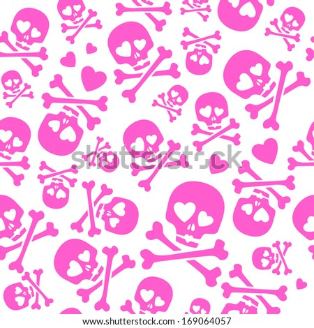 Funny skulls in love - seamless pink pattern. Good for Valentine's Day design. - stock vector