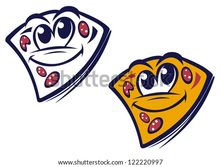 Funny slice of pizza in cartoon style for fast food design, such as emblem. Jpeg version also available in gallery - stock vector