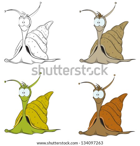 Funny snail collection. Vector set with 4 snails. - stock vector