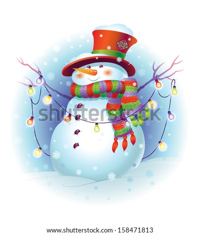 Funny snowman with christmas light. Vector Illustration for Christmas design - stock vector