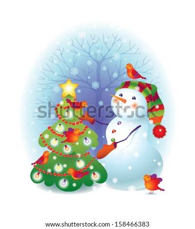 Funny snowman with christmas tree. Vector Illustration for Christmas design - stock vector