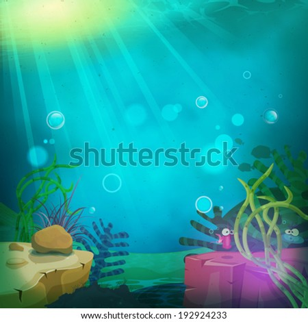 Funny Submarine Ocean Landscape/ Illustration of a cartoon funny submarine ocean landscape with aquatic plants, cute fishes characters and sea wildlife - stock vector