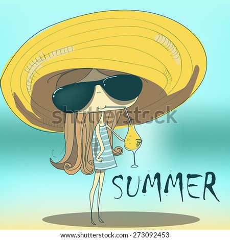 funny summer girl drinking the cocktail. - stock vector