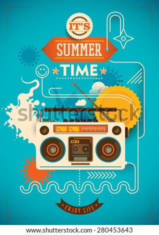 Funny summer poster. Vector illustration. - stock vector