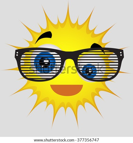 Funny Sun Smiley with Retro Sunglasses - stock vector