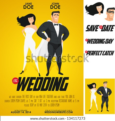 Funny super hero movie poster wedding invitation. No transparency, no gradient mesh. - stock vector
