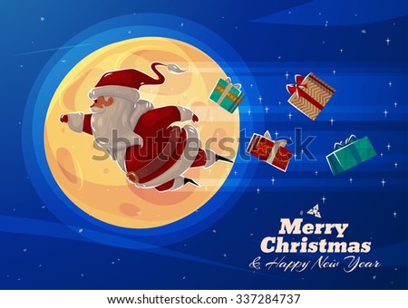 Funny Supersanta with presents on the background of the moon. Christmas greeting card background poster. Vector illustration. Merry christmas and Happy new year. - stock vector