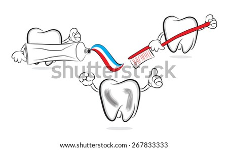 Funny teeth doing brushing with toothpaste - stock vector