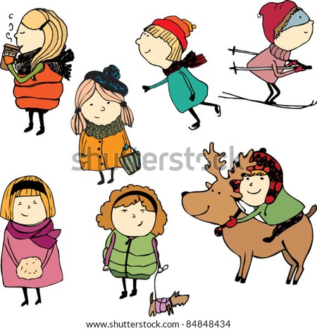 Funny tiny people - stock vector