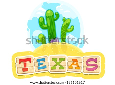 funny title texas with cactus - stock vector