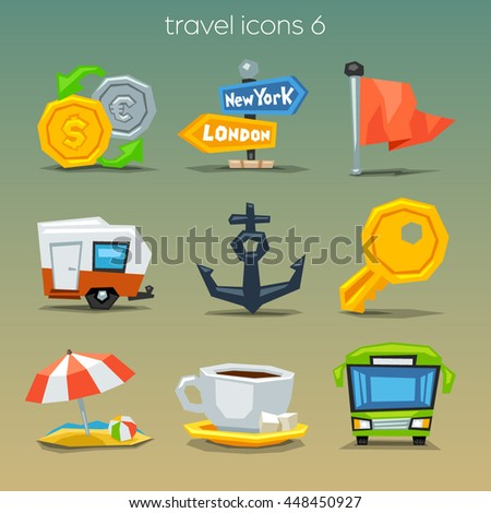 Funny travel icons-set 6 - stock vector