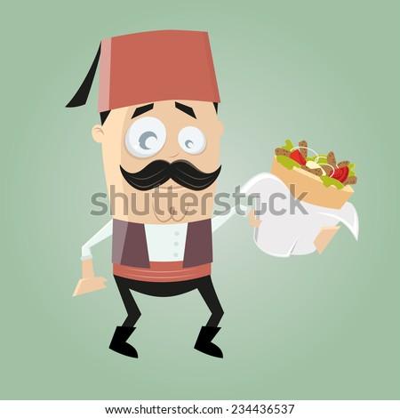 funny turkish cartoon man is serving doner kebab - stock vector