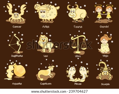 Funny twelve Zodiac or Horoscope sign on brown background. - stock vector