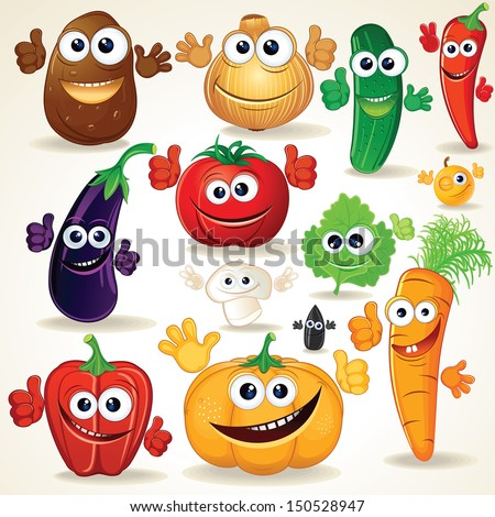Funny Various Cartoon Vegetables. Vector Clip Art - stock vector