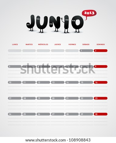 Funny 2013 vector calendar. June. In spanish. - stock vector