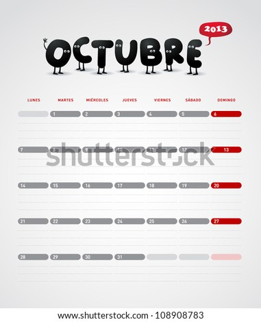 Funny 2013 vector calendar. October. In spanish. - stock vector