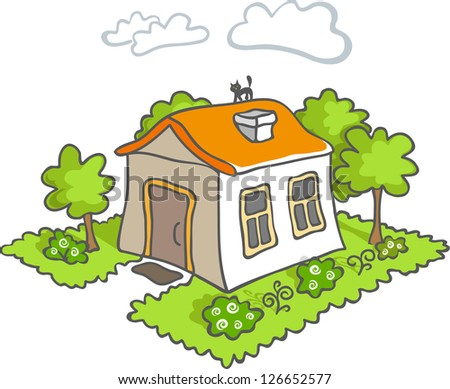 Funny vector cartoon house icon. White little house. Green tree. Black cat on the orange roof. - stock vector