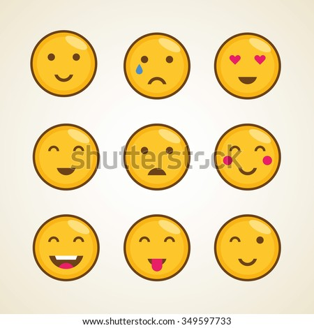 Funny vector character cartoon smiley emoticons template icon. Yellow smiley emoji face icons. Smiley design symbol template emoji - stock vector