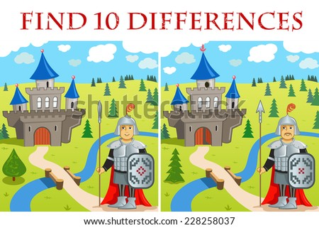 Funny Vector Illustration (EPS 8): Find 10 differences - Funny Warrior and Castle. Brave Cartoon Knights   - stock vector