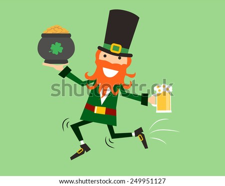 Funny Vector illustration  in modern flat design Saint Patrick's day character leprechaun run with beer and pot. Irish style - stock vector