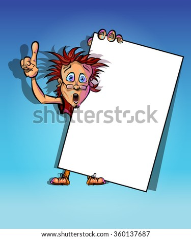 Funny vector illustration of a man holding blank poster and showing his index finger. May be used as an advertisement. Made in comic cartoon style. - stock vector
