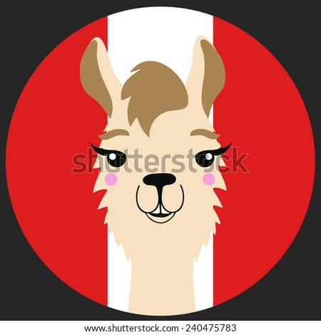Funny vector lama with Peru flag on the background. - stock vector