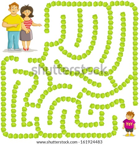 Funny Vector Maze Game: Parents Find the Way to his Boy. Family was Separated - stock vector