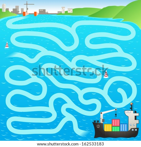 Funny vector maze game: the cargo ship find the way to the port - stock vector