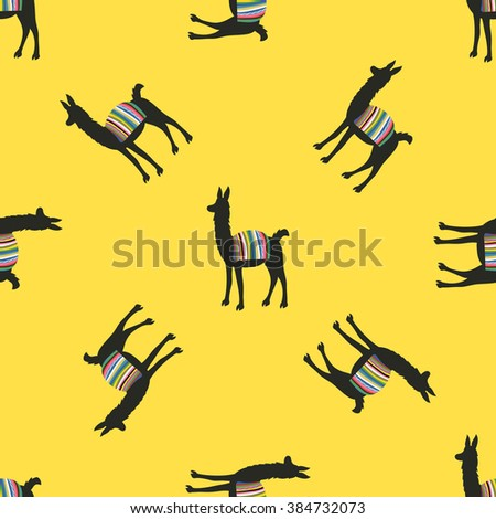 Funny vector seamless pattern with animals. Wallpaper with llama. Peru/Bolivian cape on back - stock vector