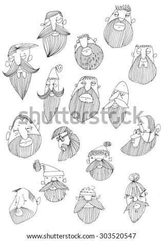 funny vector set of beard heads - cartoon avatars - stock vector