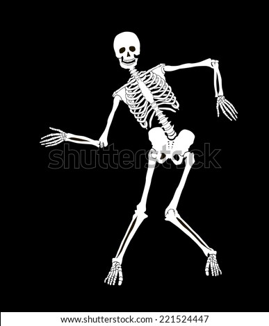 Funny vector skeleton isolated over black. Halloween design - stock vector