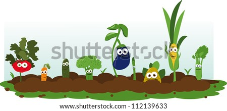 Funny Veggie Garden - stock vector