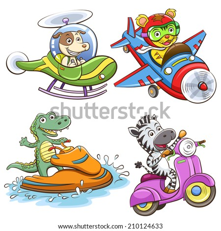 funny vehicle and animal set. EPS10 File simple Gradients, no Effects, no mesh, no Transparencies.All in separate group for easy editing. - stock vector