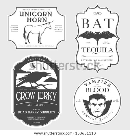 Funny vintage Halloween potion labels - stock vector