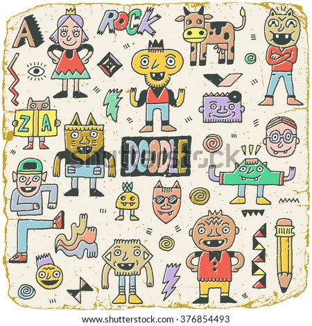 Funny Wacky Doodle Characters Set 15. Vintage Texture. Vector Illustration. - stock vector