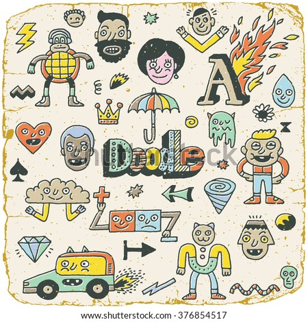 Funny Wacky Doodle Characters Set 14. Vintage Texture. Vector Illustration. - stock vector