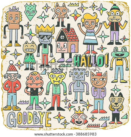 Funny Wacky Doodle Characters Set 19. Vintage Texture. Vector Illustration. - stock vector