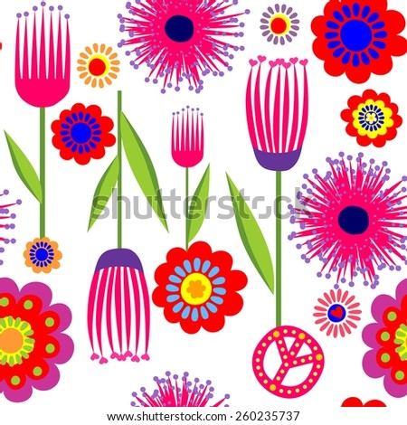 Funny wallpaper with abstract flowers - stock vector