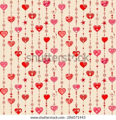 Funny wallpaper with hanging hearts - stock vector