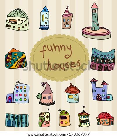 Funny whimsical houses set - stock vector