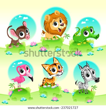 Funny wild animals with background. Cartoon vector illustration - stock vector