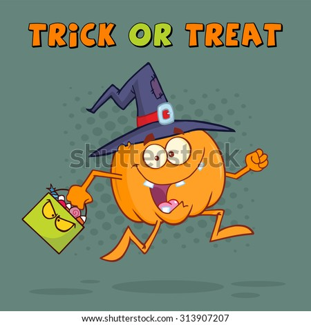 Funny Witch Pumpkin Cartoon Character Running With A Halloween Candy Basket. Vector Illustration Greeting Card - stock vector