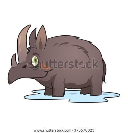 funny woolly rhinoceros vector - stock vector