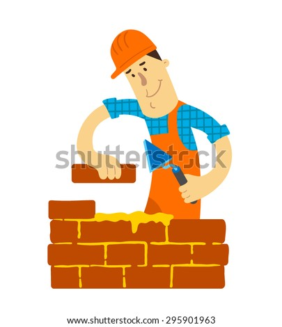 Funny worker builds a brick wall. Flat design. Vector illustration. Isolated on white background. - stock vector