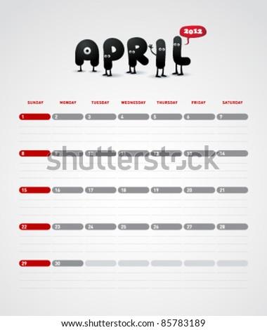 Funny year 2012 vector calendar April - stock vector