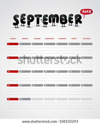 Funny year 2013 vector calendar September - stock vector