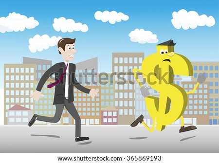 Furious businessman chasing a yellow dollar - stock vector